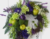 Fall Wreath with Deep Purple, Green and Burlap