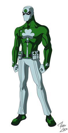 Shamrock - OC Commission by phil-cho Deviantart Superhero Names, Superhero Characters, Superhero Design, Comic Book Characters, Comic Character, Character Concept, Character Design, Comic Books, Marvel Dc