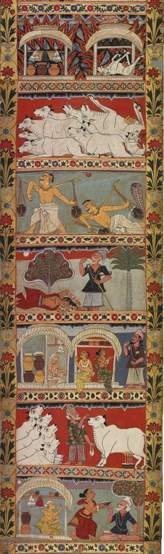 Scenes of the 'Legends of Gazi Scroll',  segment of the 29 ft long painted scroll which tells the story of the Muslim saints who are said to have brought Islam to Bengali India.  Native Indian style. Murshidabad District  ca.1800, British Museum