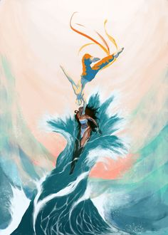 Katara and Aang, dance a bending dance. by Imogen Scoppie (UK): Avatar the Last Airbender fan art