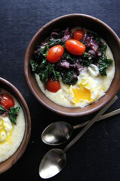 Polenta with Winter Salad and Poached Egg #vegetarian #recipe