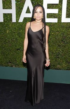 Zoe Kravitz at the Michael Kors Claiborne Swanson Frank Young Hollywood Book Launch Party in a Michael Kors Black Silk Gown