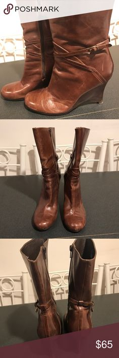 "Steven Madden Sabo Boots Dark tan leather booties. In good condition. 3.5"" heel. 12"" shaft height. No box. Steve Madden Shoes Ankle Boots & Booties"