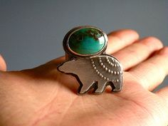I reeeeeaaaaallllly want this ring Bear Totem, Quiet Confidence, Mother Bears, Folklore, Mtv, Gemstone Rings, Buy And Sell, Turquoise, Sterling Silver