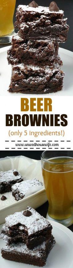 Beer Brownies | Unwed Housewife | Fudgy, dense beer brownies made with your favorite type of beer. Super easy recipe- only 5 ingredients!