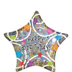 """It's time to celebrate with our Holographic Star Happy Birthday Balloon! This star balloon reads """"Happy Birthday"""" on a holographic balloon that features colorful swirl and star designs. It's a festive addition to any birthday party decorations! Party City Balloons, Mylar Balloons, Latex Balloons, Balloon Party, Birthday Star, Best Birthday Gifts, 10th Birthday, Halloween Costume Shop, Halloween Costumes For Kids"""