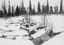 The Winter War (Finnish: talvisota, Swedish: vinterkriget, Russian: Зимняя война, tr. Zimnyaya voyna)[25] was a military conflict between the Soviet Union and Finland. The conflict began with a Soviet offensive on 30 November 1939—two months after the start of World War II and the Soviet invasion of Poland—ending on 13 March 1940 with the Moscow Peace Treaty. The League of Nations deemed the attack illegal and expelled the Soviet Union from the League on 14 December 1939