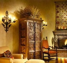 House Interior With Carved Spanish Style Furniture : Dashing Spanish Style Furni. - Mediterranean Style Home Decor - internationally inspired Mexican Home Decor, Home, Mediterranean Style Homes, House Interior, Mediterranean Home Decor, Spanish House, Spanish Style Furniture, Spanish Style Homes, Colonial Style