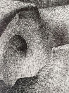 Henry Moore, Elephant Skill Plate XVI (1970) Etching. Caption to print 'Rocks arch and tunnel'