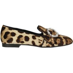 Leopard Print Loafers ($530) ❤ liked on Polyvore featuring shoes, loafers, womenshoesflat shoes, brown buckle shoes, brown loafer shoes, dolce gabbana shoes, brown shoes and loafers moccasins