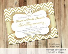 Gold White Chevron - 5x7 size - 50th anniversary - Anniversary Invitation, Wedding Anniversary Invitation - PRINTABLE INVITATION DESIGN