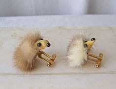 Vintage Mink Cuff Links Fur Jewelry Mink Head Novelty Cuff