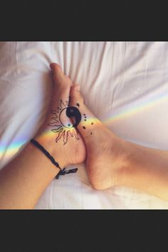 Day night matching tattoos. This but in the back of the neck