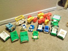 Large Vintage Lot of Fisher Price Vehicles by doyourememberwhen