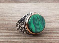 925 K Sterling Silver Gemstone Man Ring With Malachite (All Sizes) #istanbulJewelry #Statement