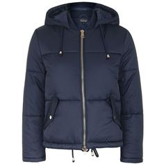Topshop Petite Hooded Puffer Jacket (120 CAD) ❤ liked on Polyvore featuring outerwear, jackets, navy blue, navy blue zip up jacket, pocket jacket, navy puffer jacket, hooded jacket and hooded puffer jacket
