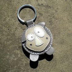Handmade Gray Rhinoceros Animal Leather Keychain  FREE by snis, $14.00