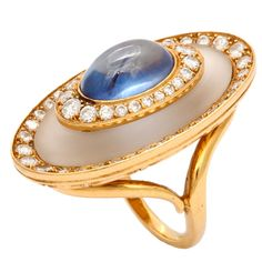 BULGARI diamond, sapphire and rock crystal ring. Bulgari Jewelry, Enamel Jewelry, Luxury Jewelry, Opal Jewelry, High Jewelry, Jewelry Art, Vintage Jewelry, Jewelry Design, Vintage Rings