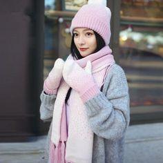 3b8cef84c66801 Knitted bobble hat gloves and scarf set for women warm fleece winter wear