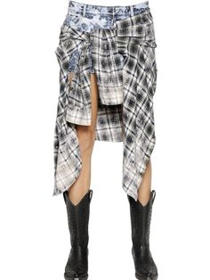 FAITH CONNEXION - BLEACHED DENIM & PLAID FLANNEL SKIRT - LUISAVIAROMA - LUXURY SHOPPING WORLDWIDE SHIPPING - FLORENCE