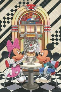 Disney Fine Art - Sundae for Two. Mickey and Minnie soda fountain. Heirloom quality bridal, art, baby gifts and home decor. Minnie Mouse, Mickey And Minnie Love, Mickey Mouse And Friends, Disney Mickey Mouse, Mickey Mouse Wallpaper, Disney Wallpaper, Disney Images, Disney Pictures, Disney Dream