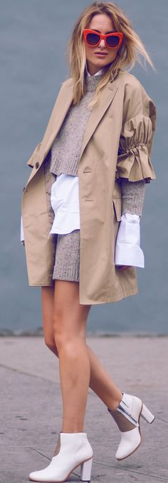 Raspberry & Rouge Ruffle Sleeve Trench Fall Inspo