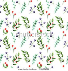 Seamless watercolor pattern with green leaves and berries, isolated on white background #decoration #foliage #berry #natural #green #white #spring #ornament #herbal #red #leaf #botanical #blueberries #summer #decor #bloom #element #paint #herbs #fabric #season #illustration #ornamental #decorative #drawings #texture #design #blue #watercolor #paper #art #artistic #vintage #beautiful #seamless #nature #pattern #botany #hand painted