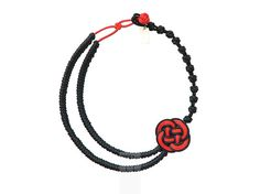 italian design necklace in black and bordeaux thread by FMLdesign