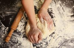 Making dough by female hands on wooden table background - Stock Photo , Russian Dishes, Russian Recipes, Romanian Desserts, How To Make Dough, Beet Soup, Unique Recipes, Pizza Dough, Wooden Tables, Restaurants