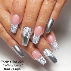 ♥ White Lace Nail Design