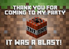 Minecraft Birthday Thank you card ~  Digital download ~ Mindcraft ~ Mine craft