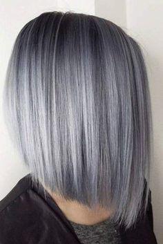 Stylish Short Hair Ideas Silver A Line Straight Bob Cut 1 1 #BobCutHairstylesLong