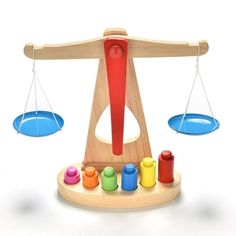 Wooden Balance Scale Toy With 6 Weights, Educational Toy