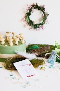 Midsummer Night's Dream party | Set the scene for an enchanted day with glass wishstones, gauzy fabrics, feathers and wooden instruments. #Kids #party