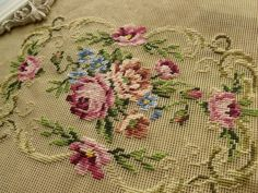 "22x18"" vtg PREWORKED Needlepoint Canvas~PINK ROSES Pale Green BLUE flower~SHABBY"
