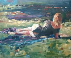 Original Painting, collected Artist Samuel Burton Woman relaxing in the sun, oil Canvas Ideas, Impressionist, Painters, Original Paintings, Relax, Oil, Contemporary, The Originals, Woman