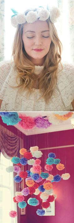 Hanging paper pom poms, via @beyondbeyond365 LOVE!