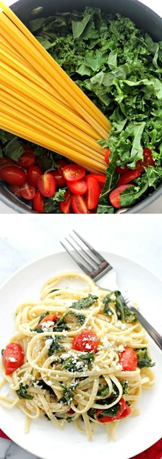 Kale and Feta One Pot Pasta - Healthy, quick and easy pasta dinner with Kale and Feta Cheese. Kale Recipes, Pasta Recipes, Dinner Recipes, Cooking Recipes, Healthy Recipes, Dinner Ideas, Jambalaya, Pasta Dishes, Food Dishes