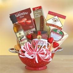 Cook up some love and turn up the heat this Valentine's Day with a  delicious gift of dinner for two.    Includes:    Bright red colander  Heart-shaped pasta  Marinara sauce  Olive oil  Cheese  Sonoma cheese straws  Chocolate Milano biscotti  Chocolate foil hearts