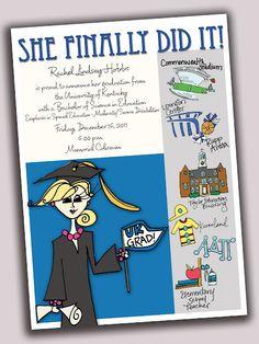 Custom graduation announcements, via Mellen Designs.
