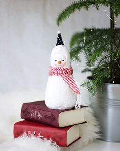 Snowman figurine by Adele Po. Winter home decor, winter inspired nursery decoration