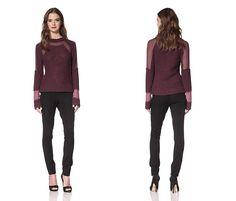 Nina Ricci: Shop The Lookbook Long Sleeve Chiffon Panel Sweater (63% OFF)