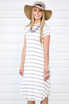 Diane Stripe Dress In Ivory