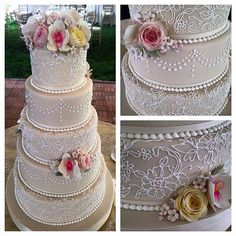 #whiteflowercakeshoppe #makingclevelandsweeter Love the #pearls and #lace on this fondant #weddingcake with #sugarflowers  #clevelandcakes #weddingsincleveland #lovewhatwedo #loveourcustomers