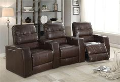 Clico Brown Bonded Leather Wood Motion Home Theater