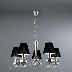 Featuring five black voile shades this five arm light pendant is made from metal and finished in chrome. Pendant Lighting, Light Pendant, Chandelier, Chrome, Ceiling Lights, Interior Design, Metal, Master Bedroom, Living Room