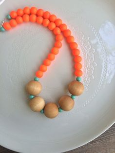 Neon orange rubber-glass and wood bead necklace, Summer fun necklace, Neon Necklace, Girls neon necklace