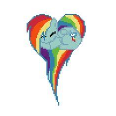 pixel art Rainbow Dash heart dash rainbow mlp heart by FurryRaver4life piq