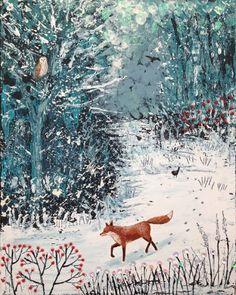 fox, foxy, foxy friday, fox in snow, mixed media, jo grundy, fox watching, red berries