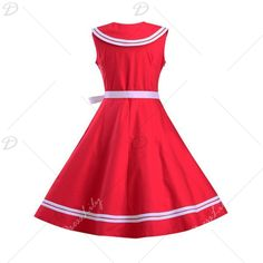 Graceful Women's Sailor Collar Sleeveless Flare Dress